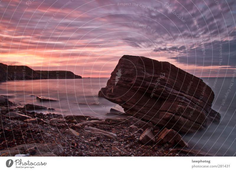 Sonnenuntergang in Whitley Bay Natur Landschaft Sand Wasser Himmel Wolken Nachthimmel Sonnenaufgang Sonnenlicht Schönes Wetter Felsen Küste Strand Bucht schön
