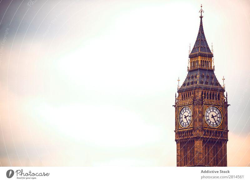 Horizontale Aufnahme von Big Ben, London. Kopierbereich Aussicht Turm Uhr Architektur Europa England Großstadt Stadt Themse Gebäude Vientiane Brücke Skyline
