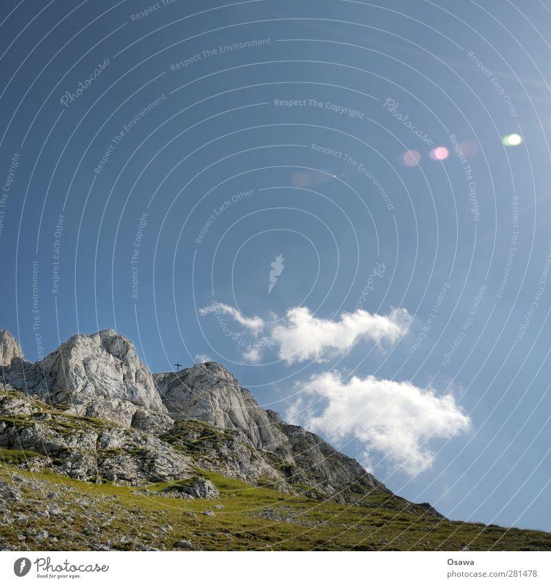 Gipfelkreuz Ferien & Urlaub & Reisen Tourismus Abenteuer Freiheit Berge u. Gebirge wandern Natur Landschaft Himmel Sommer Schönes Wetter Felsen Alpen