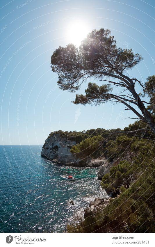 MENORCA Natur Ferien & Urlaub & Reisen Sommer Baum Sonne Erholung Küste Horizont Wasserfahrzeug Reisefotografie Idylle Bucht Segeln Paradies Mittelmeer