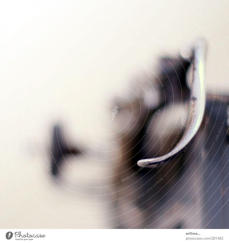 line feed | krumme dinger| alt Technik & Technologie Technikfotografie silber Nostalgie gekrümmt altmodisch Schreibmaschine Hebel Enter