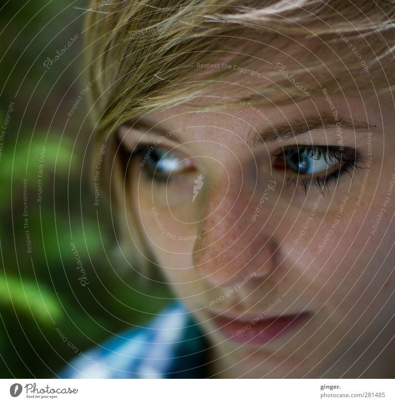 Ich weiß noch nicht, was morgen wird. Mensch Frau Jugendliche schön Erwachsene Gesicht Auge feminin Junge Frau Haare & Frisuren Kopf Denken 18-30 Jahre blond Mund Nase