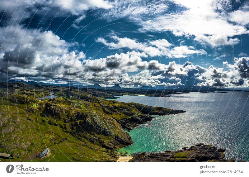Atlantikküste am Clachtoll Beach bei Lochinver in Schottland Berge u. Gebirge Bucht clachtoll beach Einsamkeit Großbritannien Haus Highlands Himmel Insel Klima