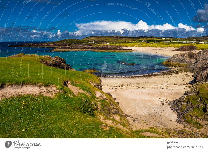 Sandstrand Clachtoll Beach und Campingplatz in Schottland Atlantik Bucht clachtoll beach Einsamkeit Erholung Großbritannien Klima Klimawandel Klippe Lagune