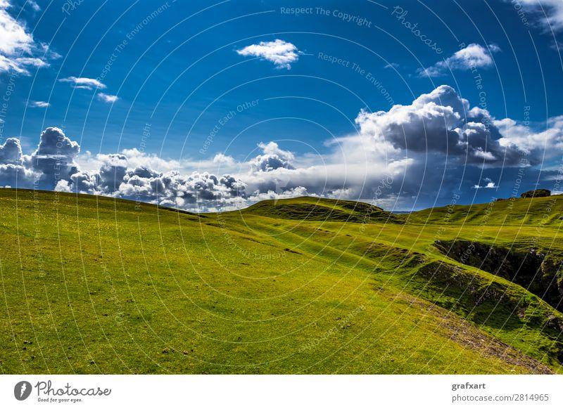 Wolken über Klippen von Clachtoll Beach in Schottland Atlantik Atmosphäre Aussicht clachtoll beach Einsamkeit Emission Gewitter Großbritannien grün Highlands