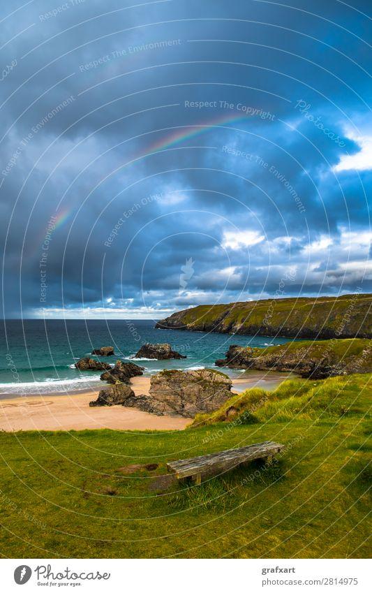 Regenbogen über Sango Bay Strand bei Durness in Schottland Atlantik Atmosphäre Bank Bucht Camping durness Gewitter Gewitterwolken Großbritannien Klippe Lagune