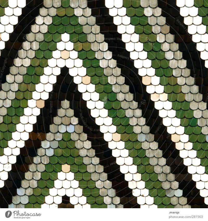Dach grün weiß schwarz Hintergrundbild Linie Design Perspektive Streifen viele einfach Dachziegel Zickzack Schindeldach