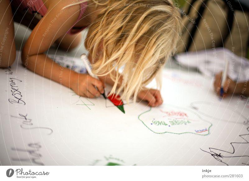 Gute Besserung! Gesundheit Krankheit Freizeit & Hobby Spielen Kind Kleinkind Kindheit Leben 1 Mensch 3-8 Jahre Schreibstift Schriftzeichen hocken knien zeichnen