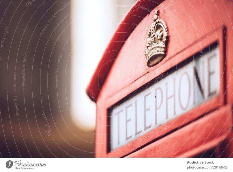 Londoner Telefonzelle rot Ferien & Urlaub & Reisen Tourismus Stadt Außenaufnahme Menschenleer Großbritannien England Berühmte Bauten Vientiane Kultur historisch