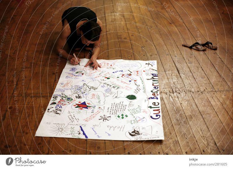 Gute Besserung II Krankheit Freizeit & Hobby Raum Wohnzimmer Frau Erwachsene Leben Körper 1 Mensch 30-45 Jahre Holzfußboden Dielenboden Boden Papier