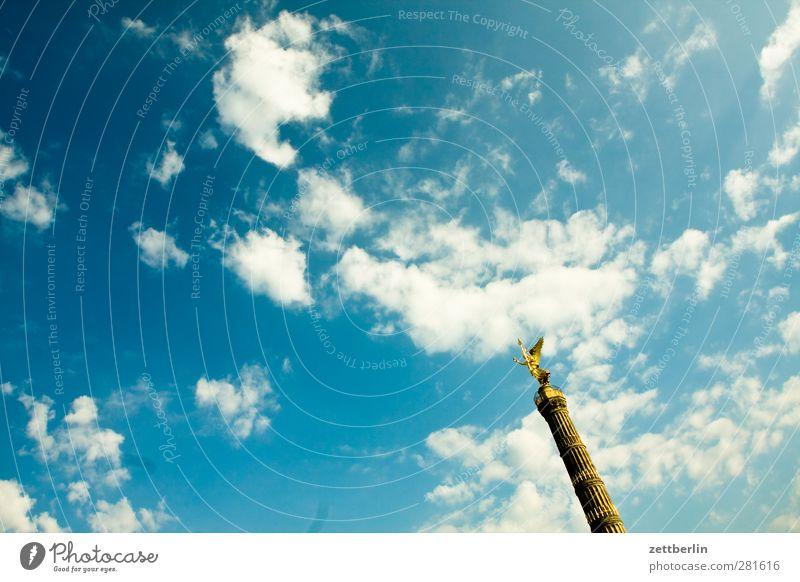 Siegessäule Umwelt Himmel Wolken Klima Wetter Schönes Wetter Hauptstadt Bauwerk Sehenswürdigkeit Wahrzeichen Denkmal Engel gut schön Berlin gold Goldelse