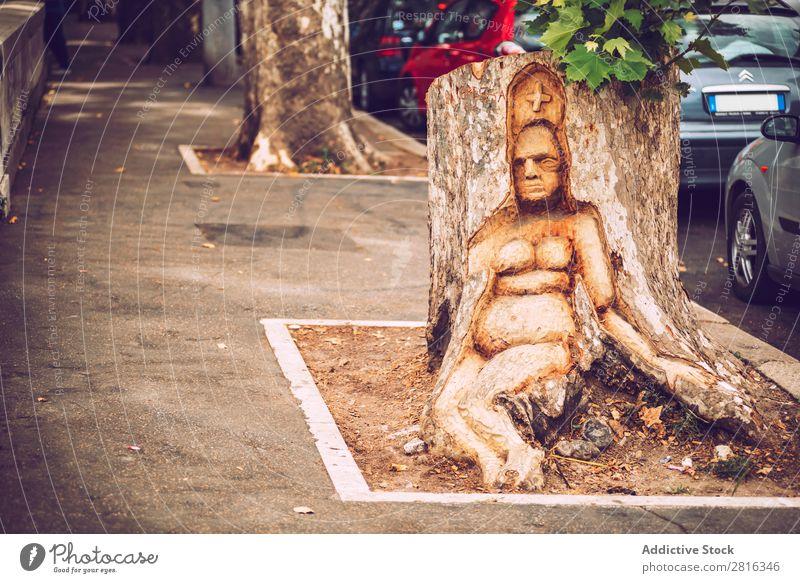 Detail von Rom Stadt, Italien. Frau Skulptur in einem Baum Straße Nahaufnahme alt altehrwürdig Detailaufnahme Europäer Außenaufnahme antik Europa Italienisch