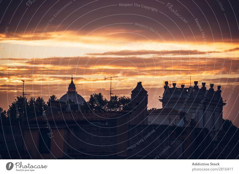 Stadtbild von Rom bei Sonnenuntergang. Italien Außenaufnahme Italienisch Kathedrale historisch Wolken Ferien & Urlaub & Reisen Aussicht rot Wahrzeichen