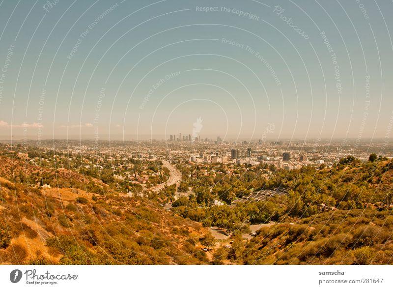 City of Angels Ferien & Urlaub & Reisen Tourismus Ferne Freiheit Städtereise Sommer Hügel Stadt Stadtrand groß Horizont Los Angeles Kalifornien LA