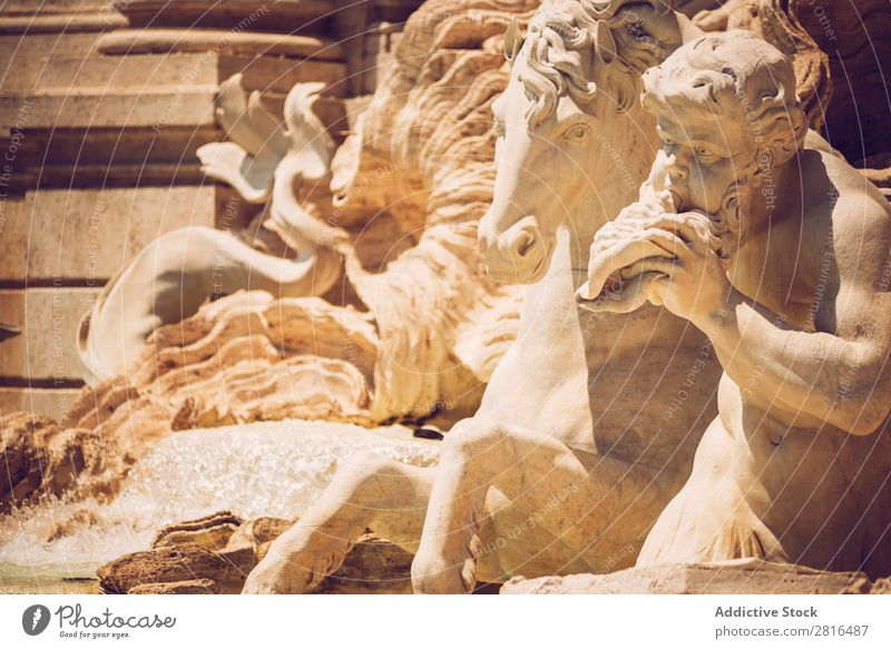 Detail von Fontana di Trevi, Rom, Italien Springbrunnen Italienisch Kunst Europäer Denkmal Europa Gebäude