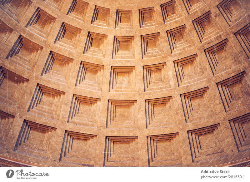 Inneres von Rom Agrippa Pantheon, Italien. Textur-Hintergrund Licht Dom gewölbt Wahrzeichen Dach Innenarchitektur Detailaufnahme Italienisch Sonnenstrahlen