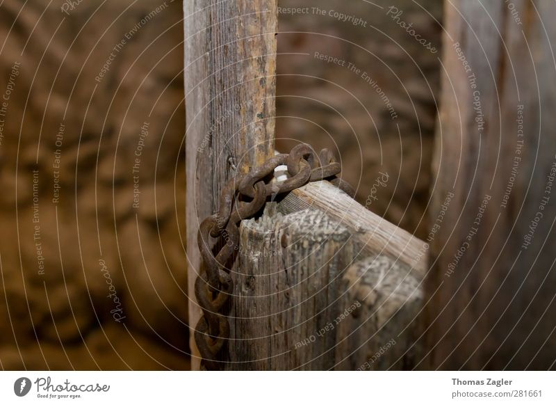 Holz und Eisen Ruine Bauwerk Tür Metall Stahl Rost alt frieren Häusliches Leben historisch kalt braun Schutz Menschlichkeit gefangen züchten Tierzucht