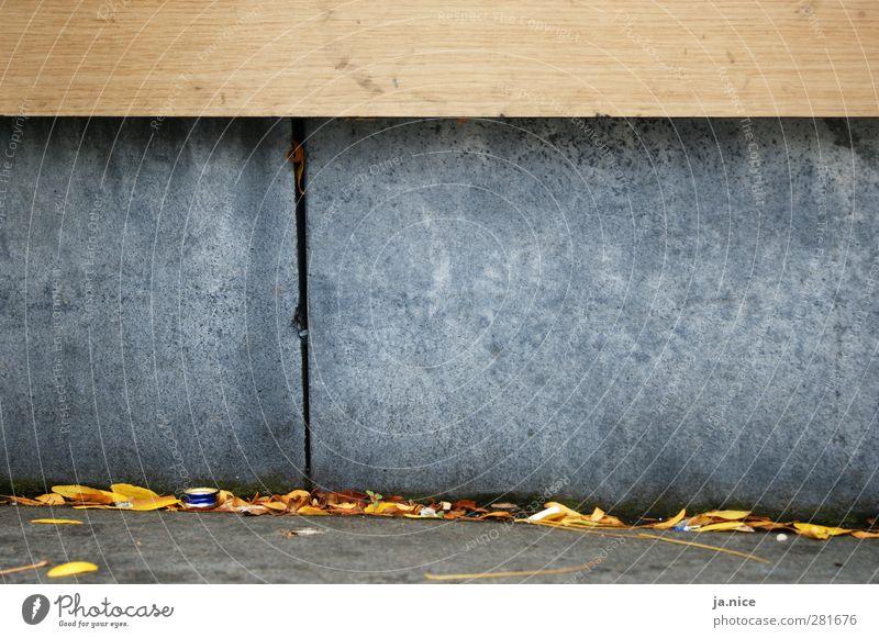 Auf dem Boden geblieben Herbst Mauer Wand Straße Stein Beton Holz Stadt gelb grau orange ästhetisch Bank Blatt Farbfoto Außenaufnahme Nahaufnahme