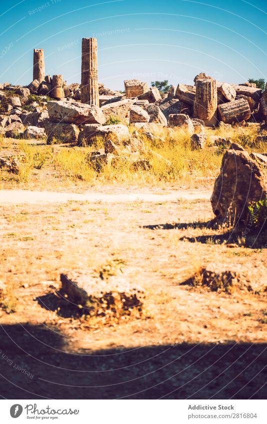 Altgriechischer Tempel in Selinunte, Sizilien, Italien. Detailansicht. Agrigento Griechen hellenistisch Stein Ferien & Urlaub & Reisen Sizilianer Wahrzeichen