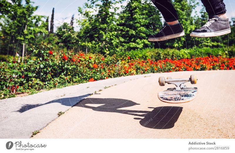 Skateboarderin, die Ollie im Park übt. asiatisch Aktion Außenaufnahme Sonnenlicht Rampe Skateboarding verpflichtet entschlossen Bewegung Mensch 1 Frau Energie