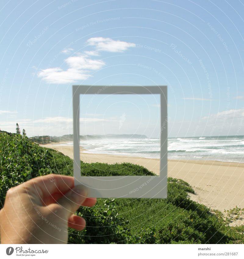 modernes Polaroid Himmel Natur Wasser Sommer Pflanze Sonne Meer Wolken Landschaft Gefühle lustig Sand Luft Stimmung Fotografie Schönes Wetter