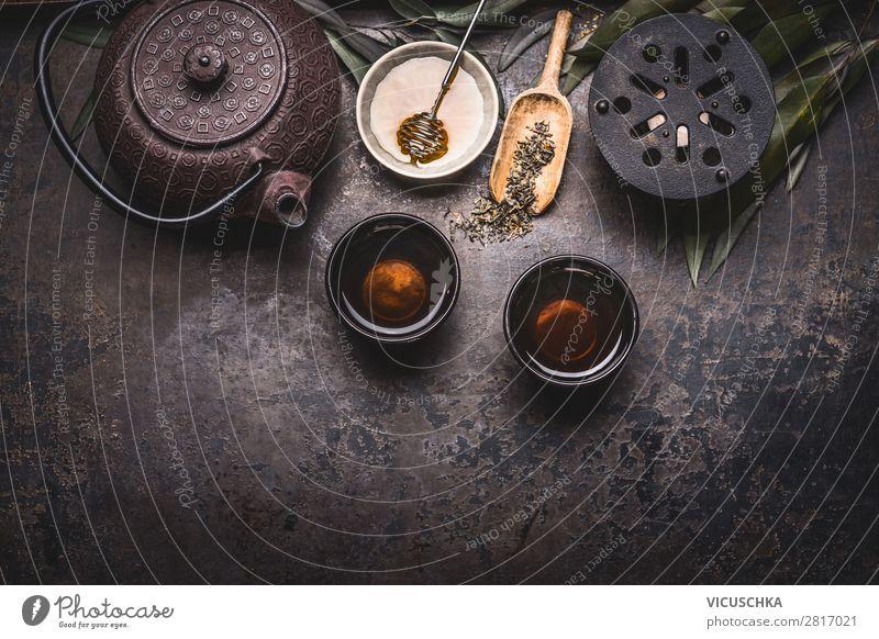 Asiatischer grüne Tee mit Teekanne, Schalen, Kerze Lebensmittel Asiatische Küche Getränk Heißgetränk Geschirr Design Gesunde Ernährung Restaurant