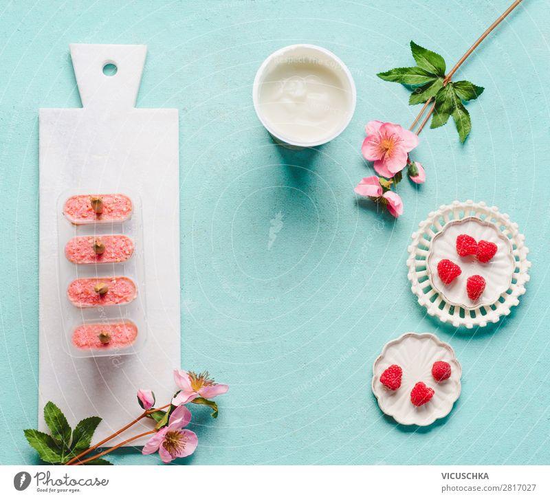 Himbeeren Joghurt-Eiscreme Gesunde Ernährung Sommer Foodfotografie Lebensmittel Hintergrundbild Stil rosa Frucht Design Tisch Speiseeis Coolness Vitamin