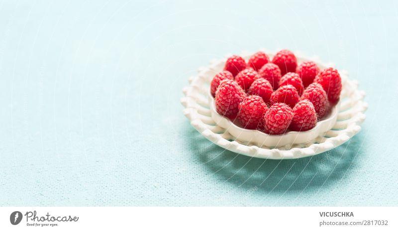 Frsche Himbeeren Lebensmittel Frucht Dessert Ernährung Bioprodukte Vegetarische Ernährung Diät Schalen & Schüsseln Stil Design Gesunde Ernährung Sommer Tisch