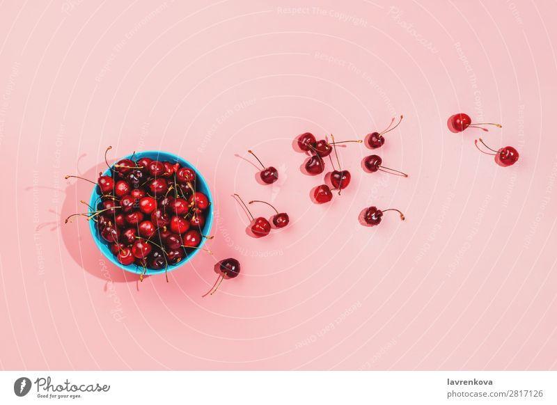 Blaue Schale voller frischer Bio-Kirschen auf rosa Hintergrund. Beeren Farbe Entwurf lecker Dessert Diät Frau Lebensmittel Frucht Ernte Gesunde Ernährung saftig