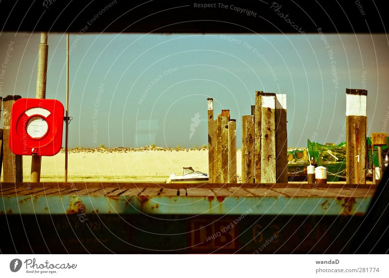 ________ Himmel blau Ferien & Urlaub & Reisen schön Sommer rot ruhig Erholung Wärme Holz Sand träumen Stimmung gold warten Insel