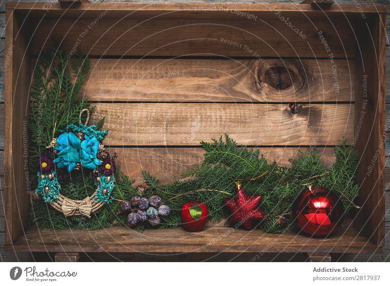 Weihnachtsschmuck Komposition von oben Weihnachten & Advent Vogelperspektive Bekleidung Fluggerät 2016 Baum Ball Dekoration & Verzierung Grüße Kopie weiß