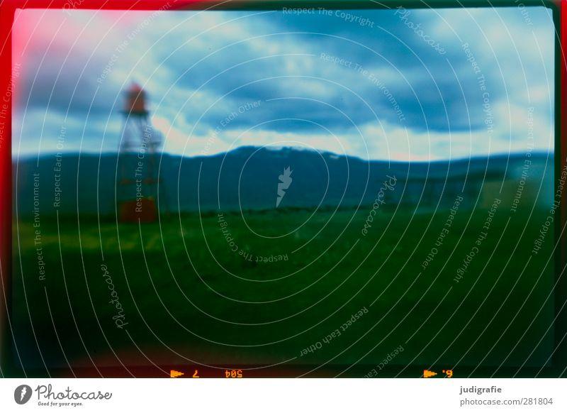 Island Umwelt Natur Landschaft Himmel Klima Berge u. Gebirge hjalteyri Dorf Hafenstadt Leuchtturm außergewöhnlich dunkel wild Stimmung Farbfoto Gedeckte Farben