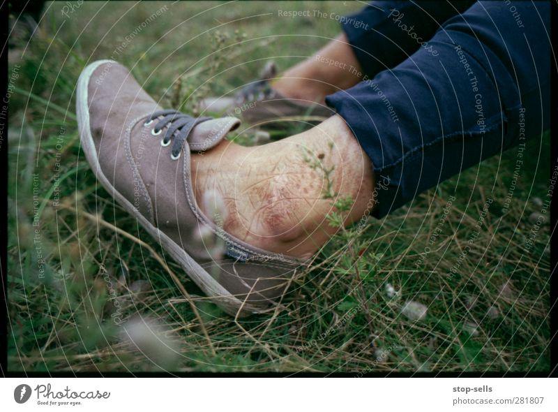 Tattooed by nature Design Freude Haut Fuß Umwelt Natur Pflanze Urelemente Gras Park Wiese Kreativität Muster Abdruck Schuhe Symbole & Metaphern