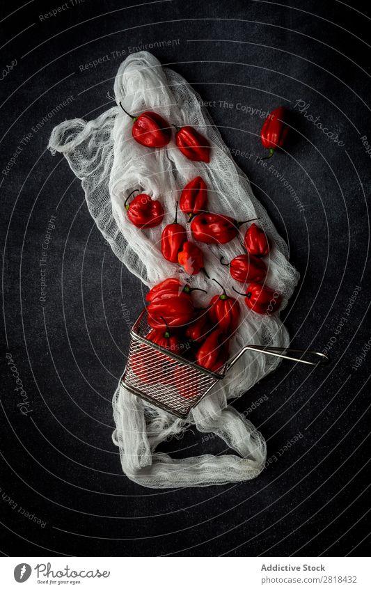 Frische rote Paprika Chili Lebensmittel Gemüse Würzig roh Hintergrundbild lecker Zutaten Gesundheit Feinschmecker natürlich Diät geschmackvoll Ergänzung