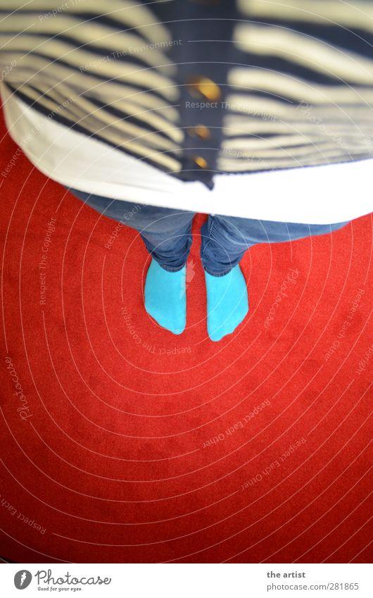 von oben nach unten Hose Jeanshose Jacke Stoff Strümpfe Knöpfe stehen blau gold rot türkis weiß Top Teppich Streifenpullover Farbfoto Innenaufnahme Kunstlicht