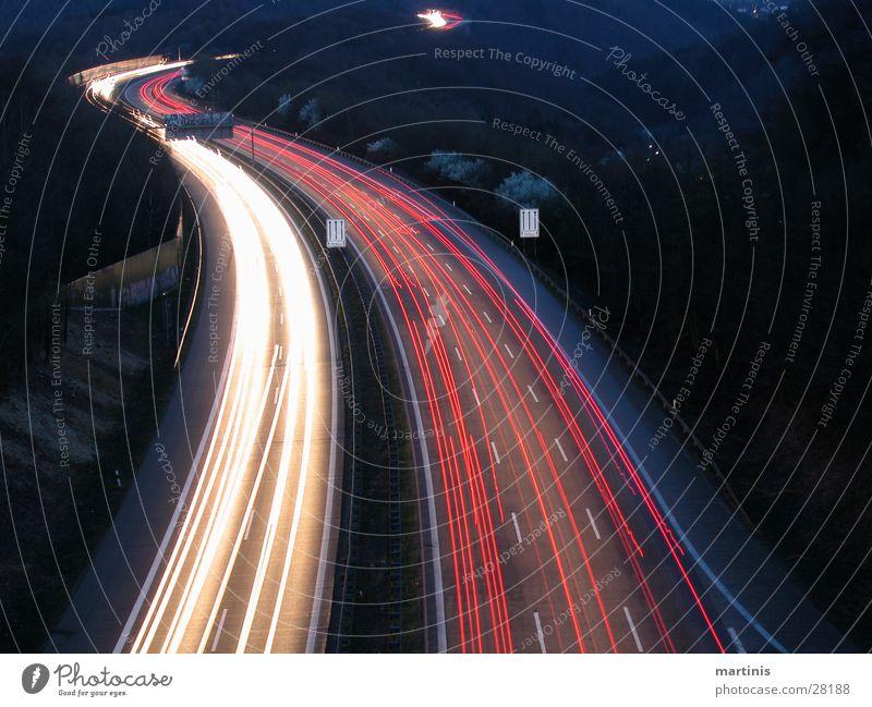 autobahn Autobahn Nacht Langzeitbelichtung Licht Verkehr