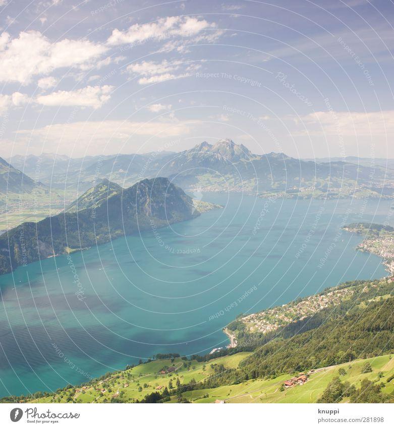 Idylle Umwelt Natur Landschaft Luft Himmel Wolken Horizont Sonne Sonnenlicht Sommer Herbst Wetter Schönes Wetter Feld Wald Hügel Alpen Berge u. Gebirge Gipfel