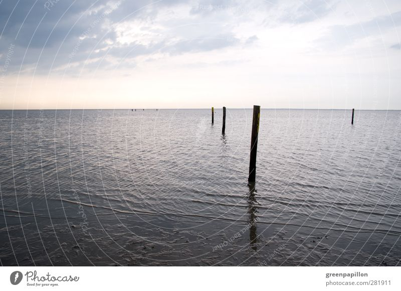 Wattenmeer bei typischem Nordsee Wetter - Grau in Grau - Ebbe Himmel Natur Ferien & Urlaub & Reisen Wasser Meer Erholung Einsamkeit ruhig Wolken Strand Umwelt