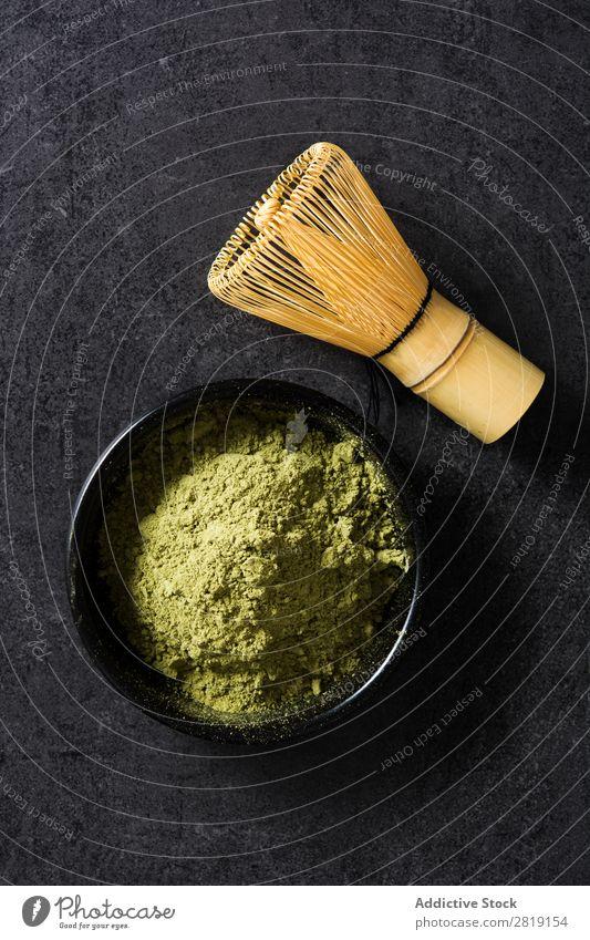 Matcha Tee grün Pulver organisch Kultur Japaner Hintergrundbild Gesundheit Feinschmecker trinken Tradition Orientalisch Getränk gepulvert natürlich Nahaufnahme