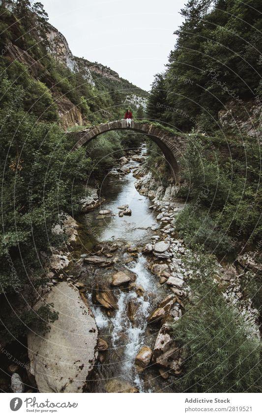 Frau sitzt auf der alten Brücke Natur Wald Ferien & Urlaub & Reisen Außenaufnahme Mensch Wasser schön Landschaft Stein Park Beautyfotografie Lifestyle Fluss
