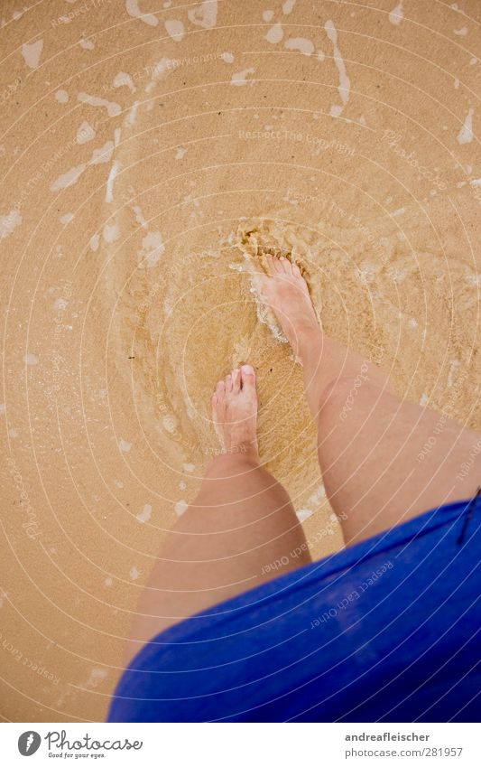 fussgeschichten. Mensch Ferien & Urlaub & Reisen Meer Strand feminin Gefühle Bewegung Sand Beine Fuß braun gehen Wellen Insel T-Shirt Kleid