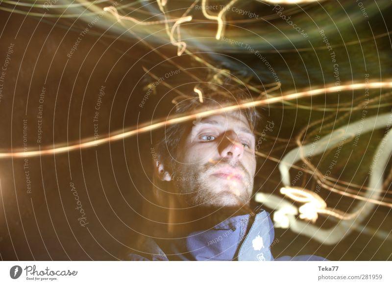 Lichtwicht Mensch maskulin Gesicht 1 18-30 Jahre Jugendliche Erwachsene Abenteuer Kreativität Irritation Zeit mehrfarbig Außenaufnahme Experiment abstrakt