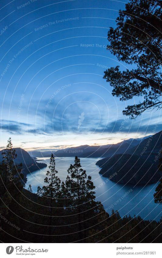 See 01 Wolken Landschaft Berge u. Gebirge Patagonien Felsen san martin de los andes Himmel Baum Wasser Wald Nacht Abenddämmerung Sonnenaufgang