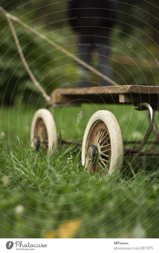 ohne titel Natur Gras Garten Wiese Fahrzeug Oldtimer Anhänger Kinderwagen grün ziehen Rost Farbfoto Gedeckte Farben Außenaufnahme Nahaufnahme Menschenleer