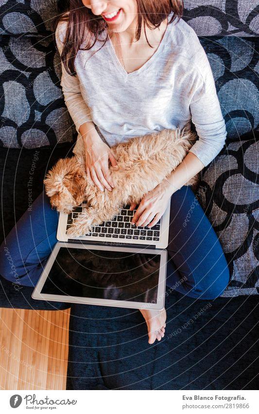 junge Frau mit ihrem Zwergpudelhund zu Hause Lifestyle Freude Glück schön Sofa Handy PDA Computer Notebook Tastatur Bildschirm Technik & Technologie Mensch