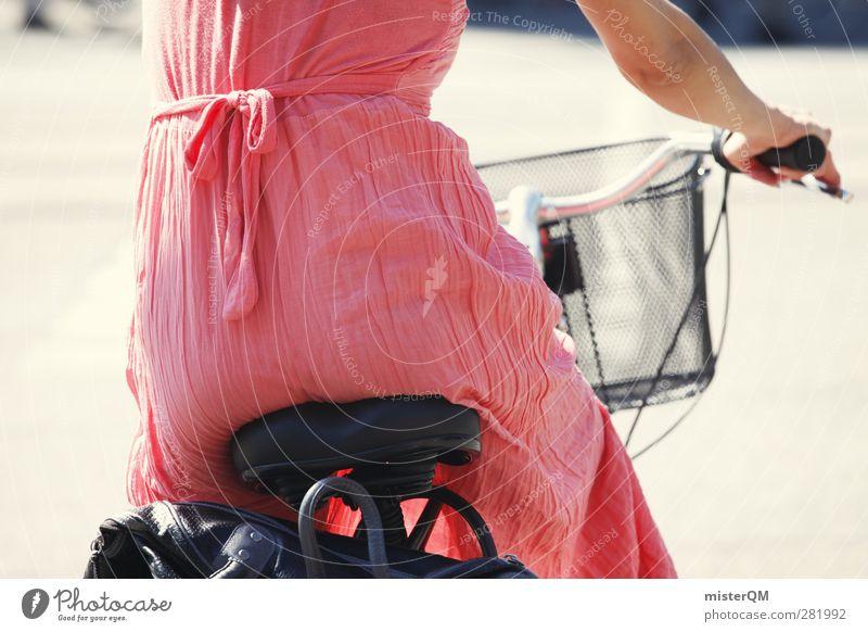 City Drive. Frau Stadt Sommer Mode Kunst rosa Freizeit & Hobby ästhetisch Kleid Gesäß Fahrradfahren Fahrradtour Leichtigkeit Alltagsfotografie Kleiderbügel Lenkrad