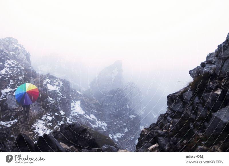 Somewhere Far. Farbe Berge u. Gebirge kalt Farbstoff Kunst außergewöhnlich Nebel ästhetisch Alpen einzigartig Kreativität Idee fantastisch Regenschirm Schneebedeckte Gipfel Bayern