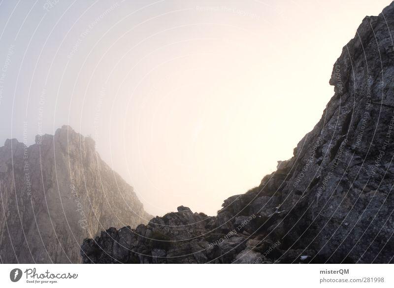 Mordor. Natur Berge u. Gebirge Kunst Nebel ästhetisch Alpen Gipfel geheimnisvoll Schneebedeckte Gipfel Bayern mystisch Bergsteigen Berghang Bergkette