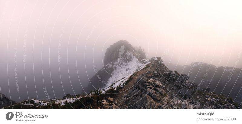 Nowhere. Natur Landschaft Umwelt Berge u. Gebirge Nebel ästhetisch Alpen fantastisch Panorama (Bildformat) Fernweh mystisch Bergsteigen Berghang Bergsteiger