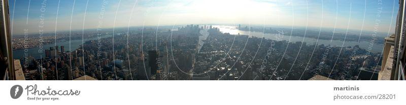 empire state panorama Panorama (Aussicht) Stadt Sonnenuntergang Empire State Building New York City Hochhaus Nordamerika groß Panorama (Bildformat)